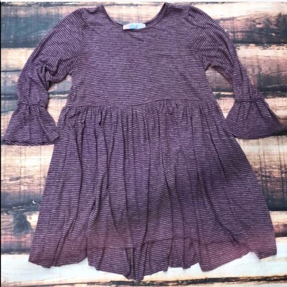 b09e4b35b187 Free People Dresses   Skirts - Free People Purple Striped Bell Sleeve Dress